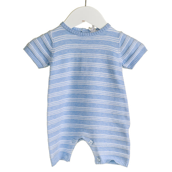 NN0205 -  BABY BOYS BLUE STRIPED ROMPER (6 PCS)
