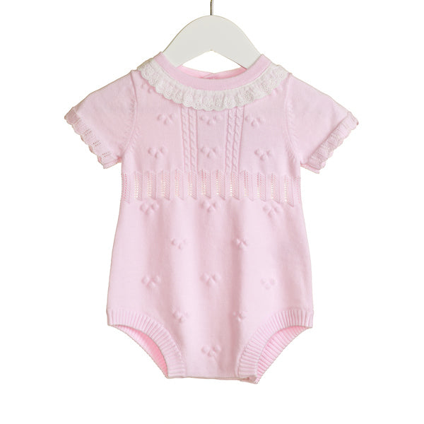 NN0232A - BABY GIRLS KNITTED ROMPER WITH BRODERIE ANGLAIS FRILL (6 PCS)