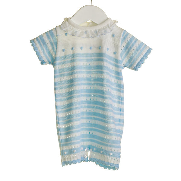 NN0303 - BABY BLUE/WHITE KNITTED ROMPER ***25% OFF*** (6 PCS)