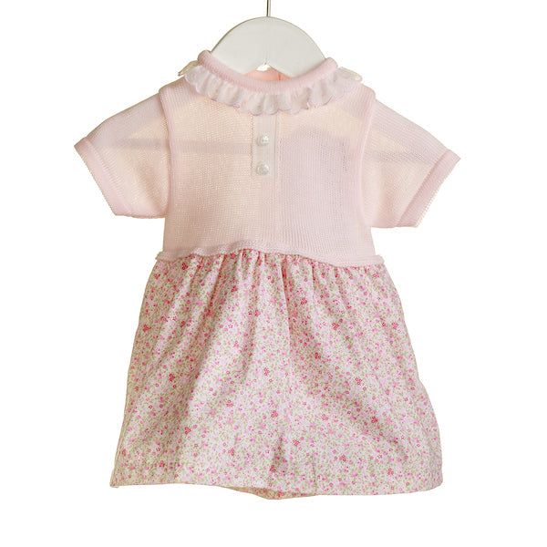 NN0305A - BABY PINK/WHITE KNITTED/WOVEN DRESS (6 PCS)