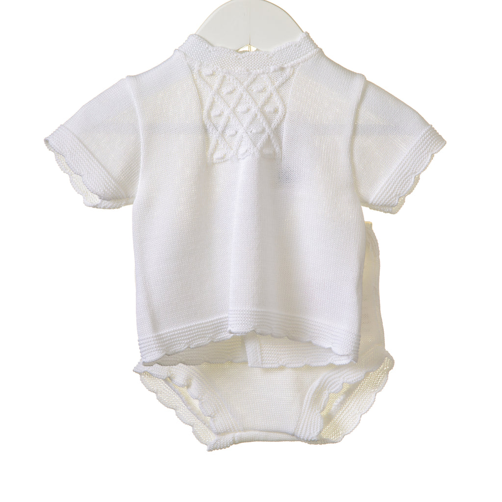 NN0334 - BABY WHITE UNISEX KNITTED 2 PC ***25% OFF*** (6 PCS)
