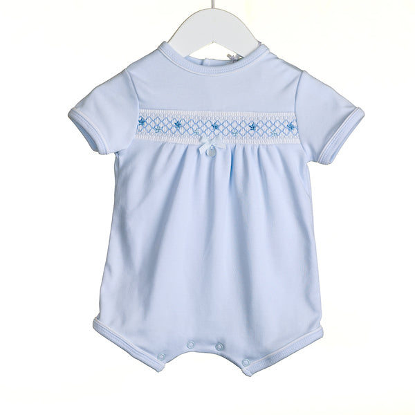 NN0367A - BLUE INTERLOCK ROMPER (6 PCS) - SALE