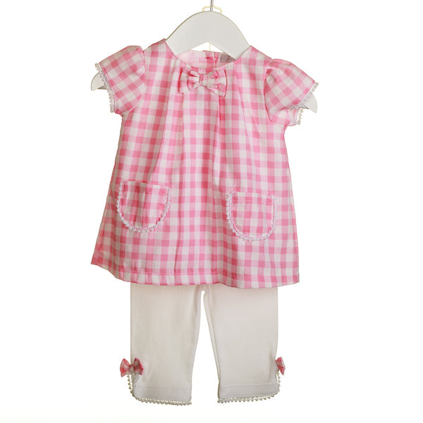 NN0433A - PINK GINGHAM TUNIC WITH WHITE LEGGINGS (6 PCS)
