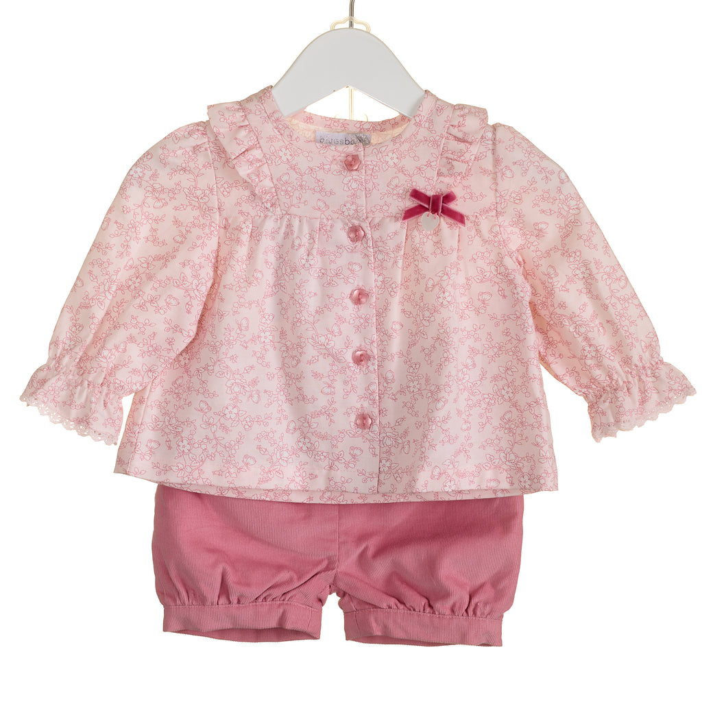 PP0004 - GIRLS FLORAL BLOUSE AND CORD SHORT SET (6 PCS)