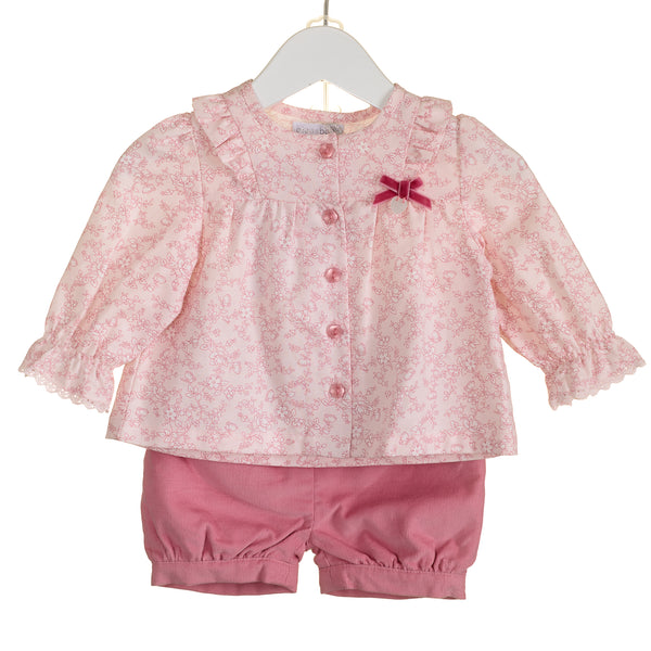 AW - PP0004 - GIRLS FLORAL BLOUSE AND CORD SHORT SET (6 PCS)