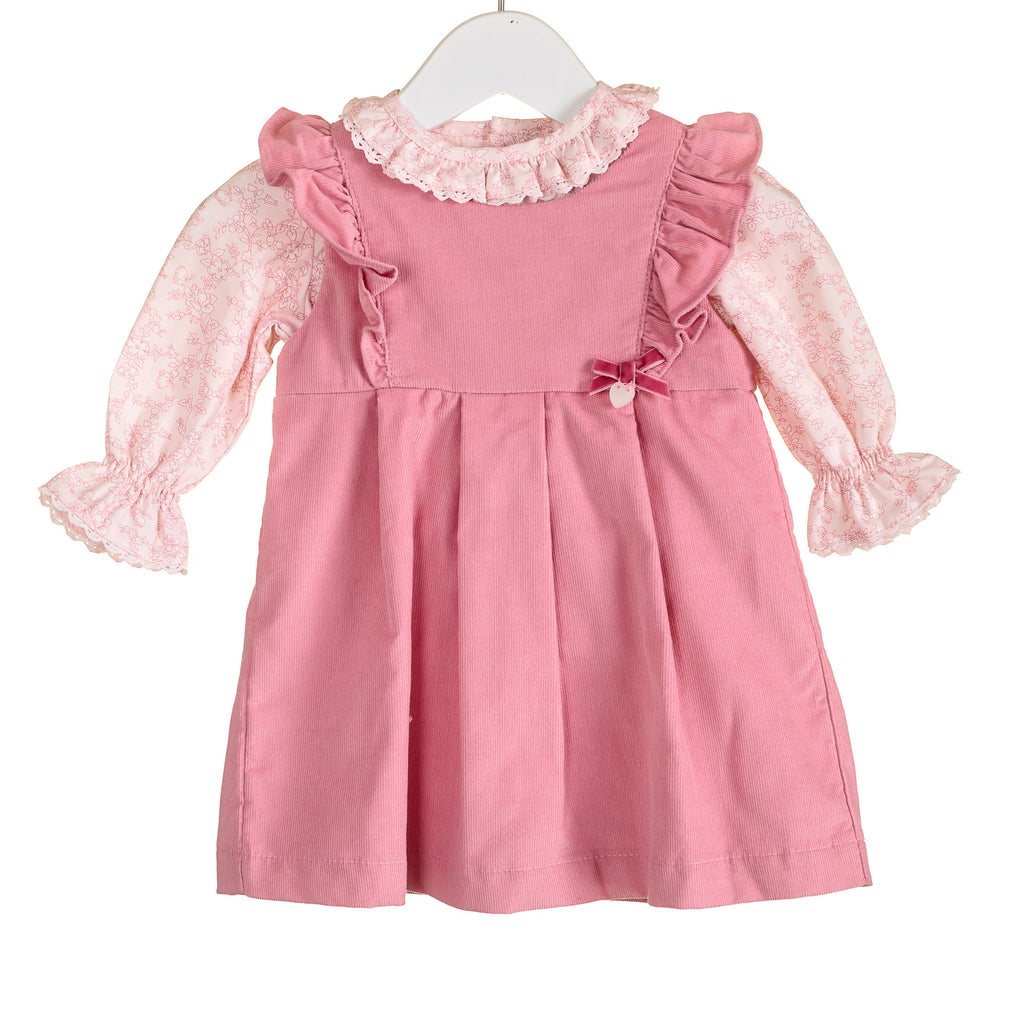 R-PP0006 - GIRL'S PRINTED BLOUSE AND PLAIN CORD PINAFORE SET