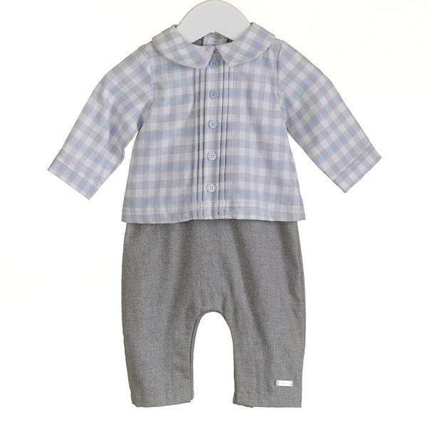 AW - PP0022 - BABY BOYS GREY CHECK ROMPER (6PCS)