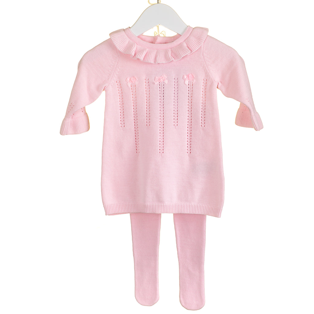 PP0171A - GIRLS PINK KNITTED DRESS & TIGHTS (6PCS)