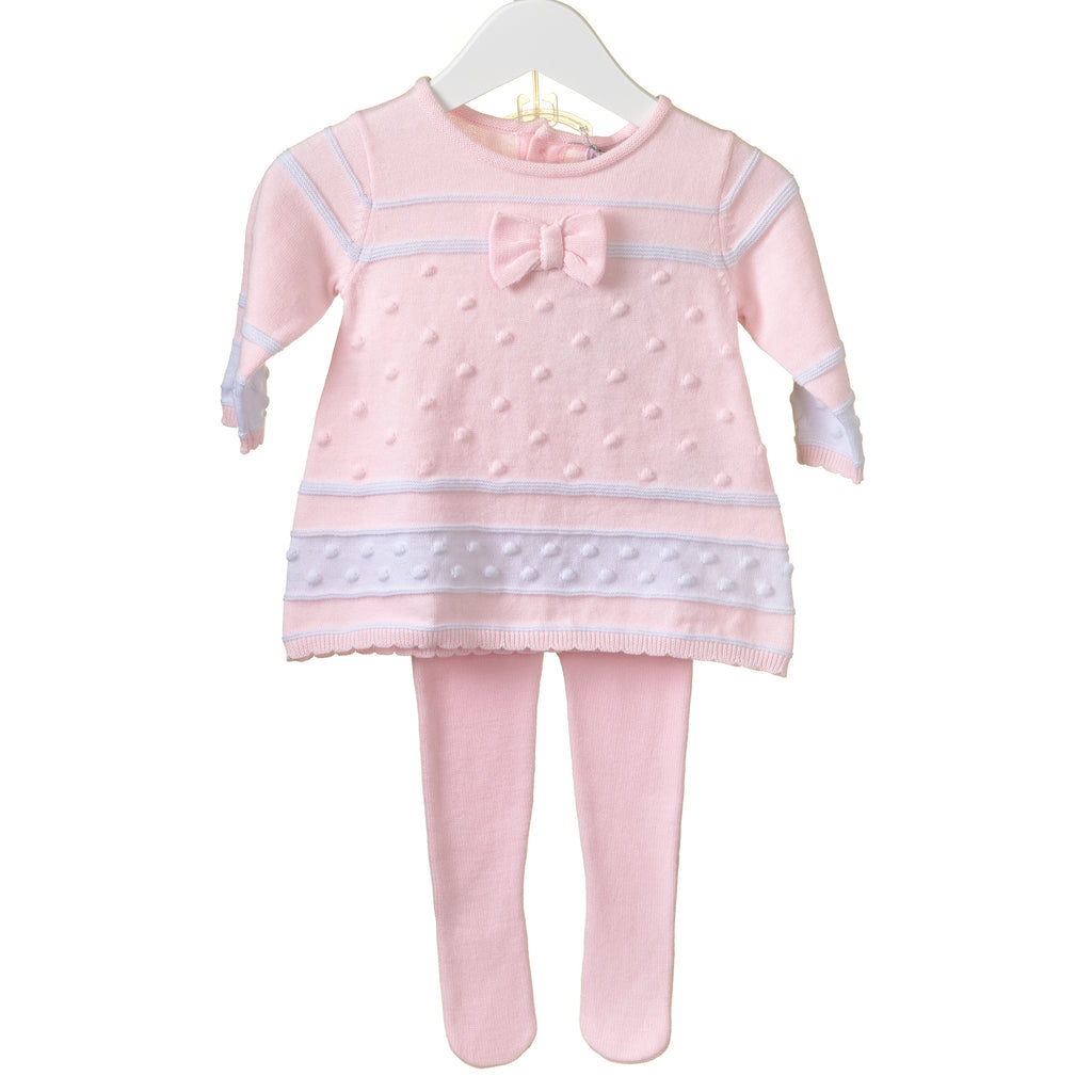 PP0189A - GIRLS PINK KNITTED DRESS & TIGHTS (6PCS)