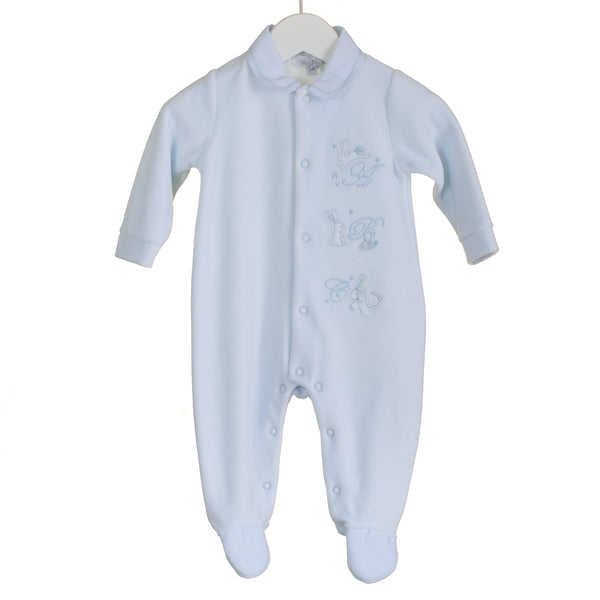 R-PP0300 - BABY BOYS BLUE VELOUR SLEEPER