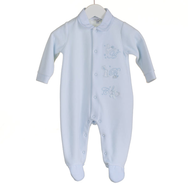 PP0300 - BABY BOYS BLUE VELOUR SLEEPER (6 PCS)