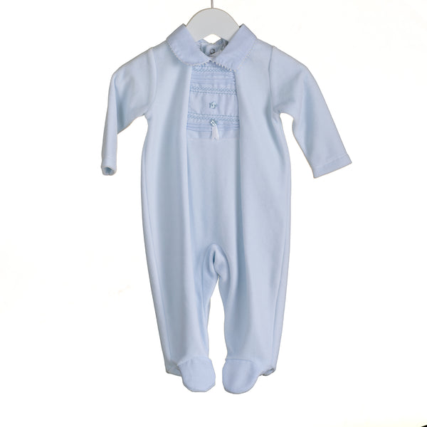 PP0311 - BABY BOYS BLUE VELOUR SLEEPER (6 PCS) - SALE