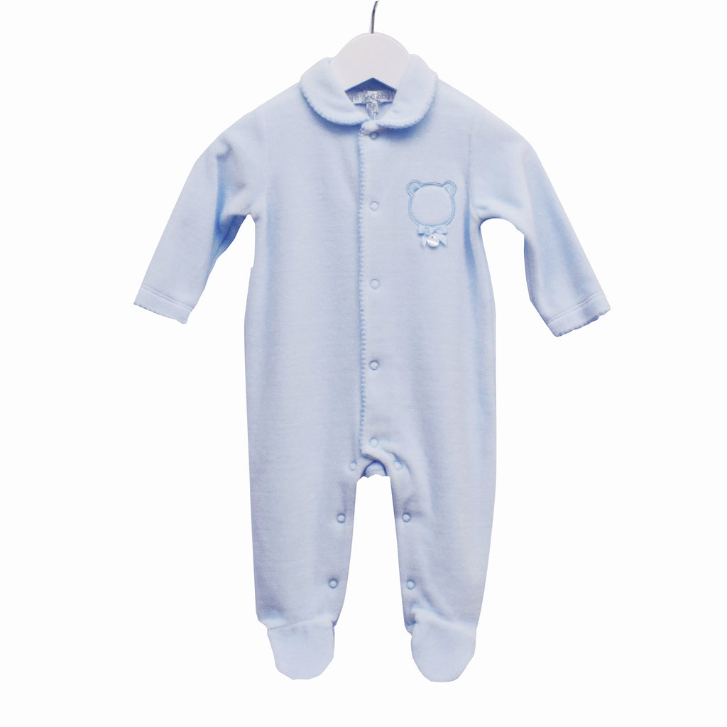 TT0232 - BOYS BLUE VELOUR SLEEPER WITH BEAR APPLIQUE (6PCS)
