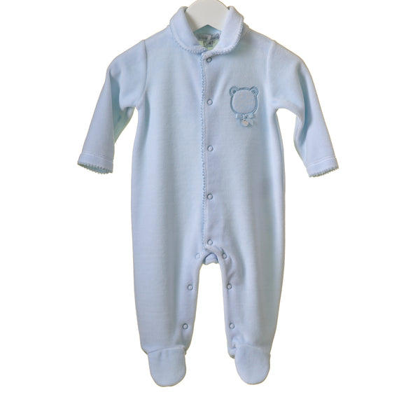 BLUES BABY Boys Velour Sleeper with Woven Jacquard Placket
