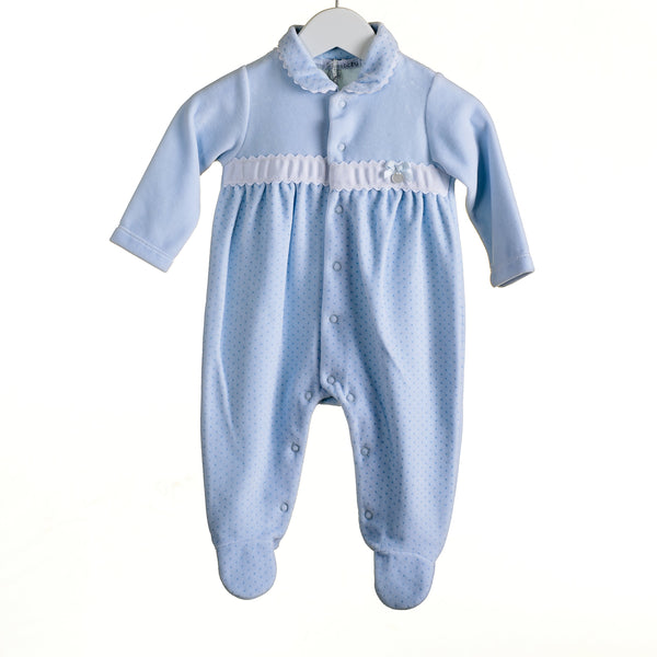 R-PP0319 - BOYS BLUE VELOUR SLEEPER