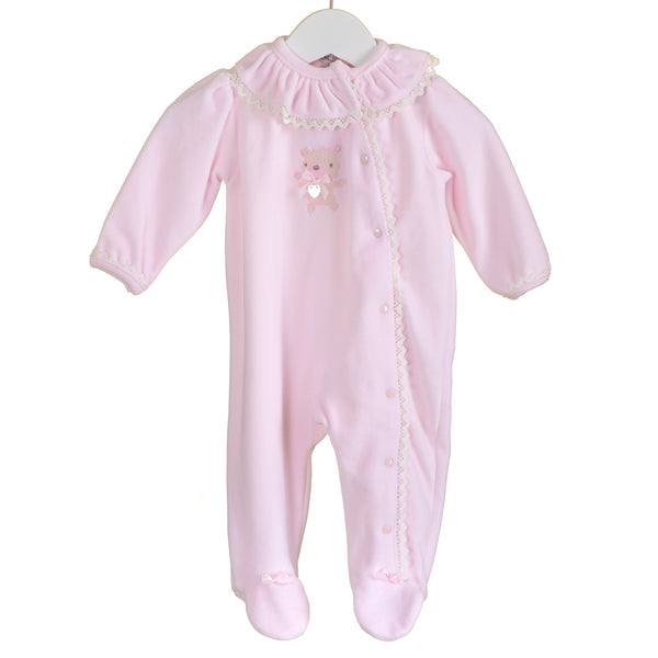 AW - PP0336 - BABY GIRLS PINK VELOUR SLEEPER (6 PCS)