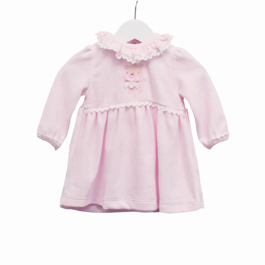 PP0337 - GIRLS PINK VELOUR DRESS (6PCS)