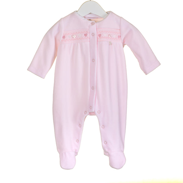 PP0345 - BABY GIRLS PINK VELOUR SLEEPER (6 PCS)