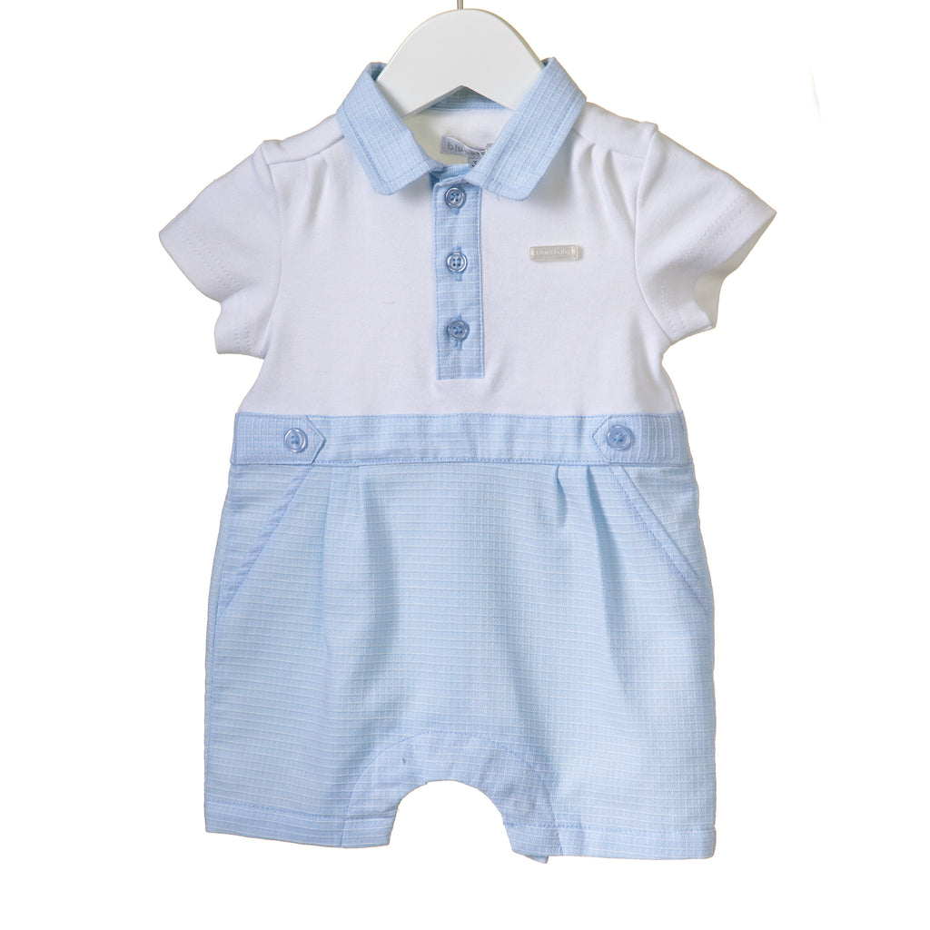 RR0007 - BOYS BLUE/WHITE ROMPER (6 pcs)