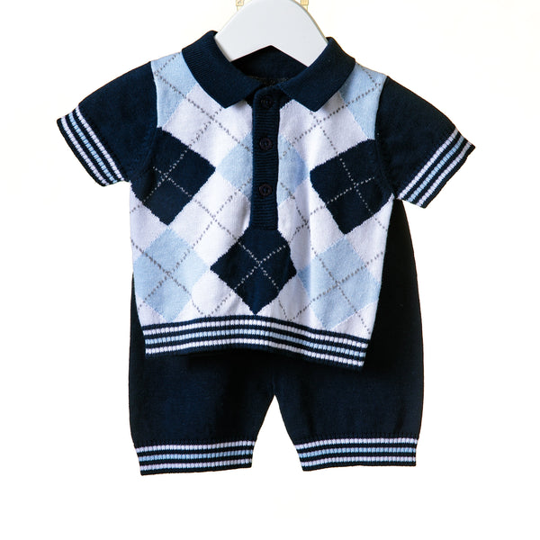 R-RR0051 - BOYS NAVY INTARSIA 2PC SHORT SET