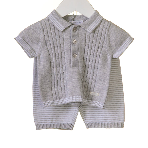 R-RR0056 - BOYS GREY MARL CABLE KNIT 2PC SHORT SET