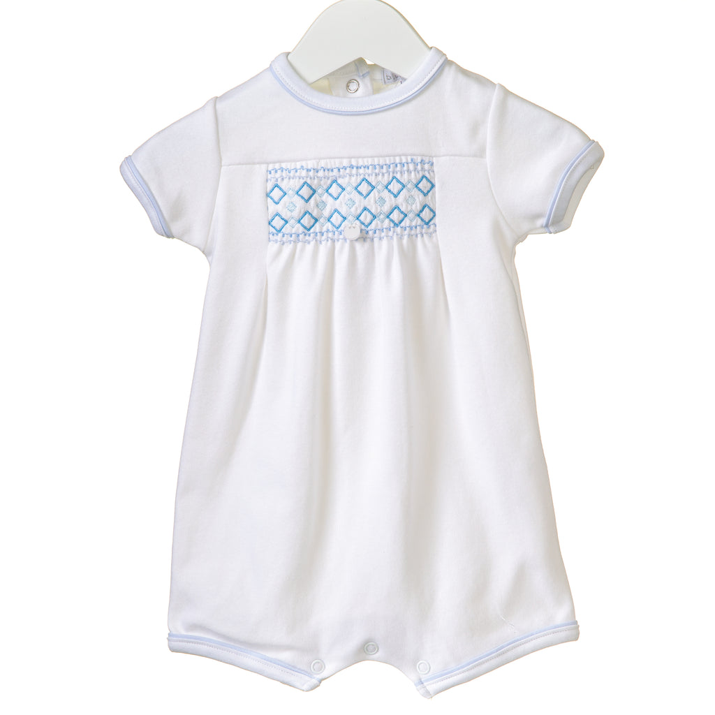 RR0143 - BOYS WHITE INTERLOCK ROMPER (6 pcs)