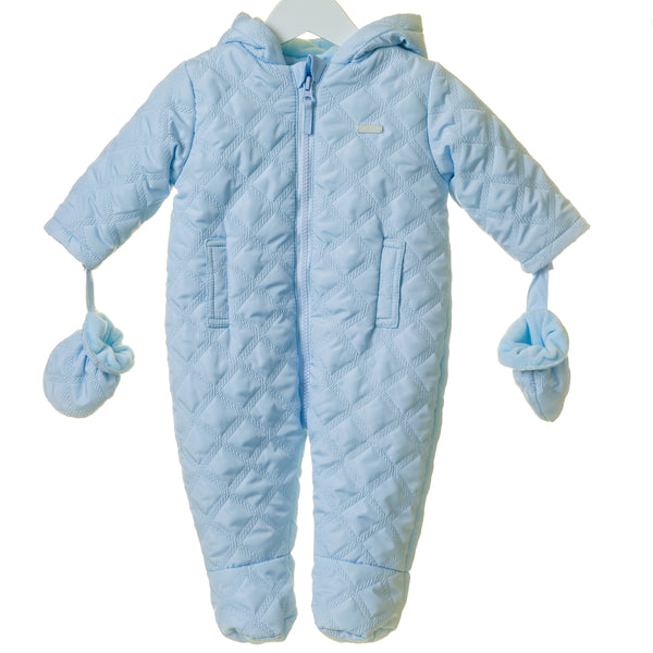 TT0005 - BOYS BLUE HOODED SNOWSUIT WITH MITTENS (6PCS)