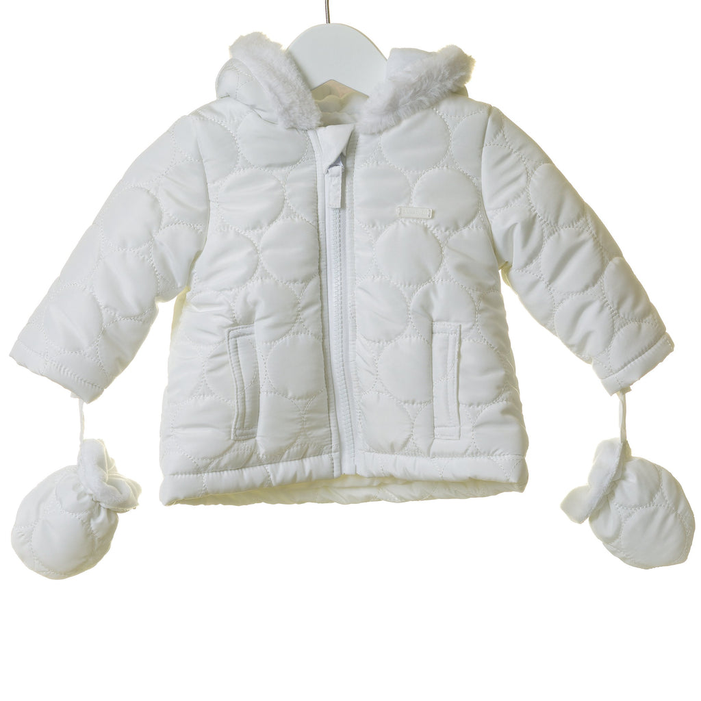 R-TT0007 - UNISEX WHITE HOODED JACKET WITH MITTENS