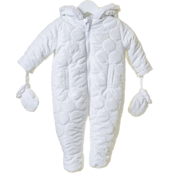 TT0008 - UNISEX WHITE HOODED SNOWSUIT WITH MITTENS (6PCS)