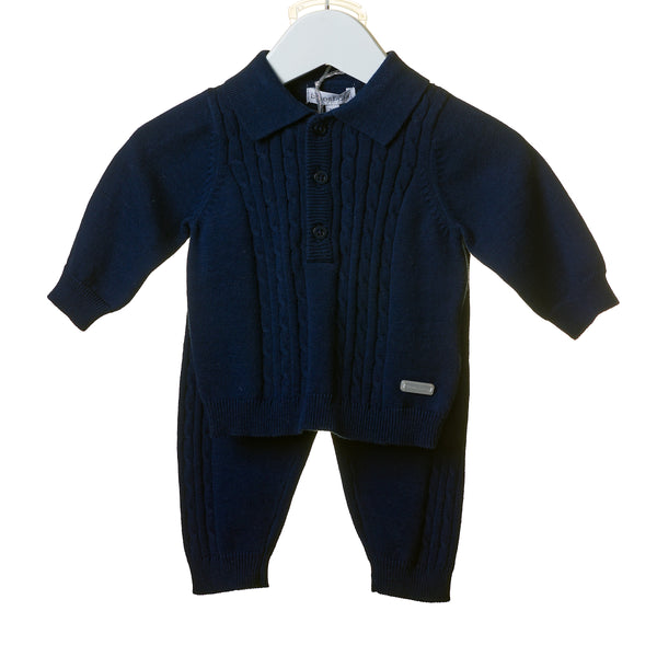 TT0104 - NAVY KNITTED CABLE 2 PC SET (6PCS) **In stock Thurs 25th July**