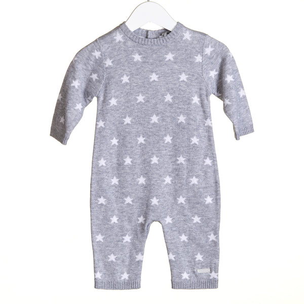 TT0112 - BOYS GREY STAR INTARSIA 2 PC ROMPER SET (6PCS) **In stock Thurs 25th July**