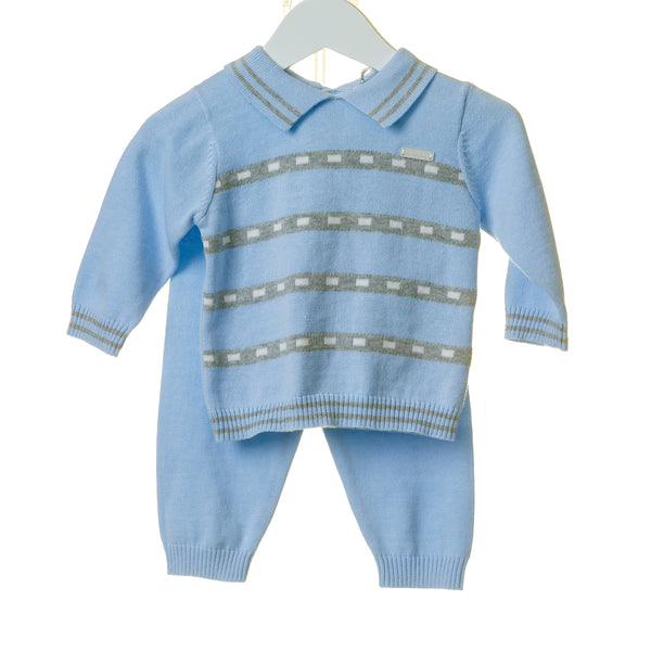 TT0113 - BLUE 2PC KNITTED SET WITH CONTRAST STRIPE (6PCS) **In stock Thurs 25th July**