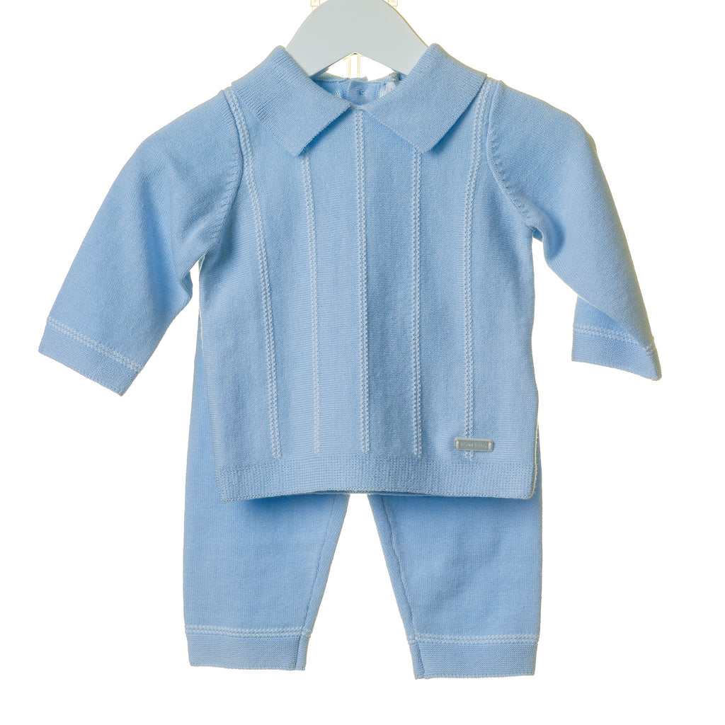 TT0119 - BOYS BLUE VERTICAL KNIT JACQUARD 2 PC SET (6PCS)