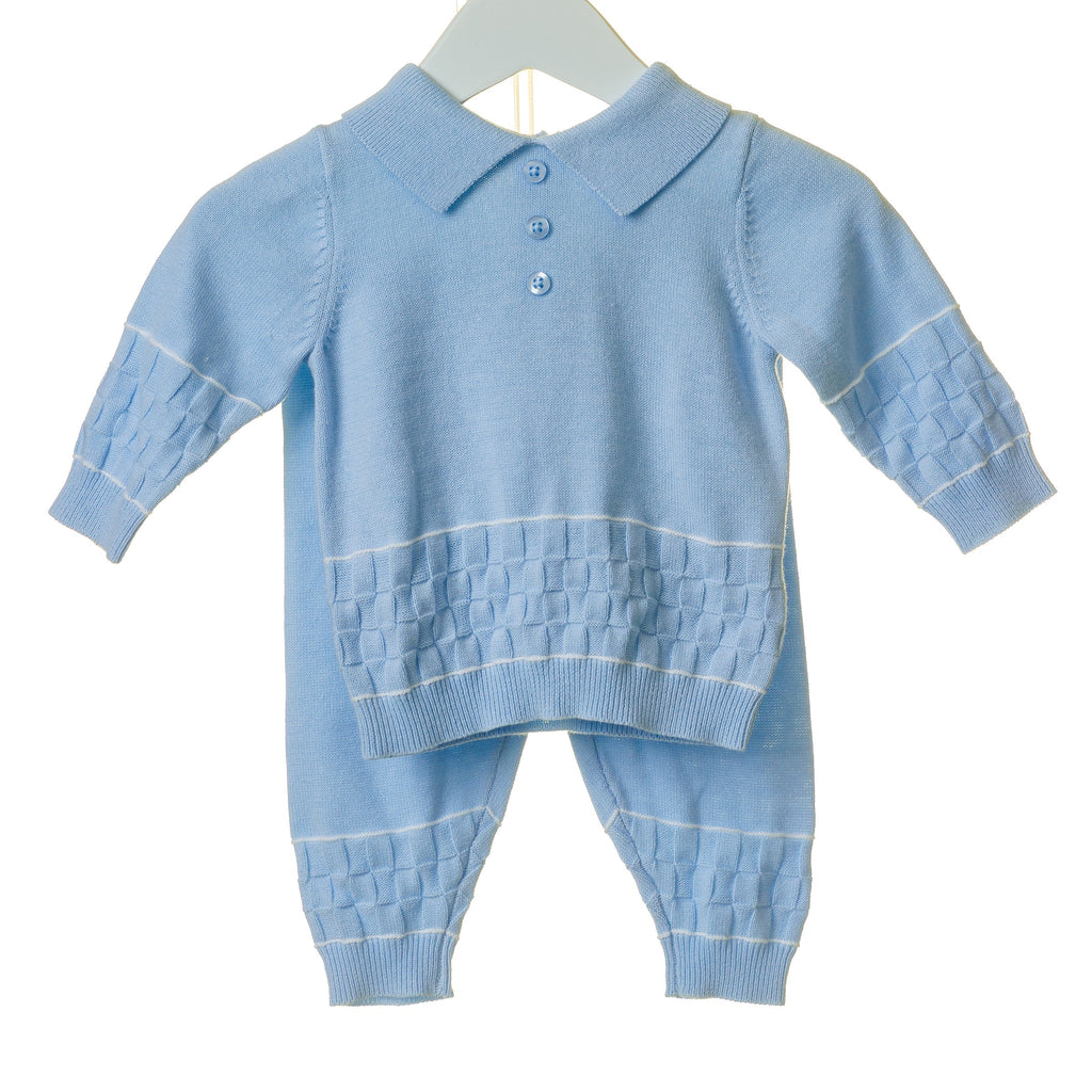 R-TT0122A - BOYS BLUE SQUARE KNIT 2 PC SET