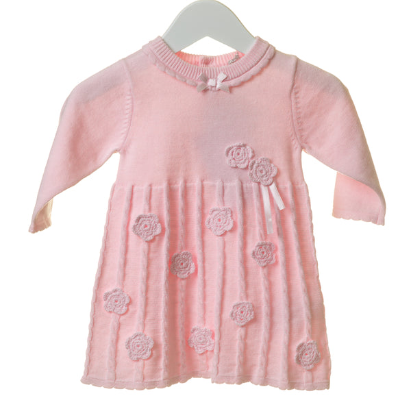 TT0125 - GIRLS PINK CABLE KNIT DRESS WITH CROCHET FLOWERS (6PCS)