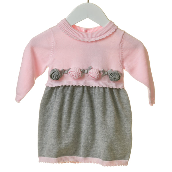 TT0127 - GIRLS PINK KNITTED DRESS WITH PINK AND GREY APPLIQUE FLOWERS (6PCS)