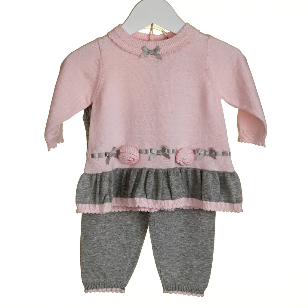 R-TT0128A - GIRLS PINK KNITTED 2PC SET WITH PINK APPLIQUE FLOWERS