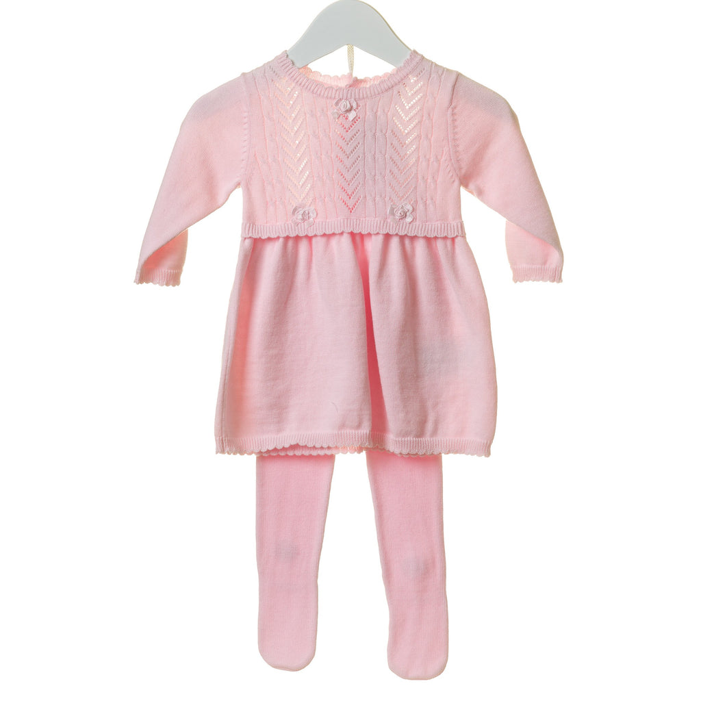 R-TT0129 - GIRLS PINK 2 PC POINTELLE DRESS SET WITH TIGHTS