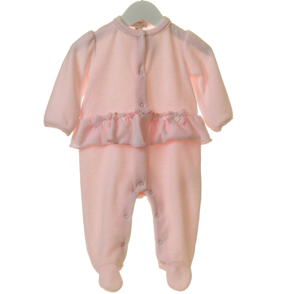 R-TT0160 - GIRLS VELOUR SLEEPER WITH BOWS AND ORGANZA FLOWERS