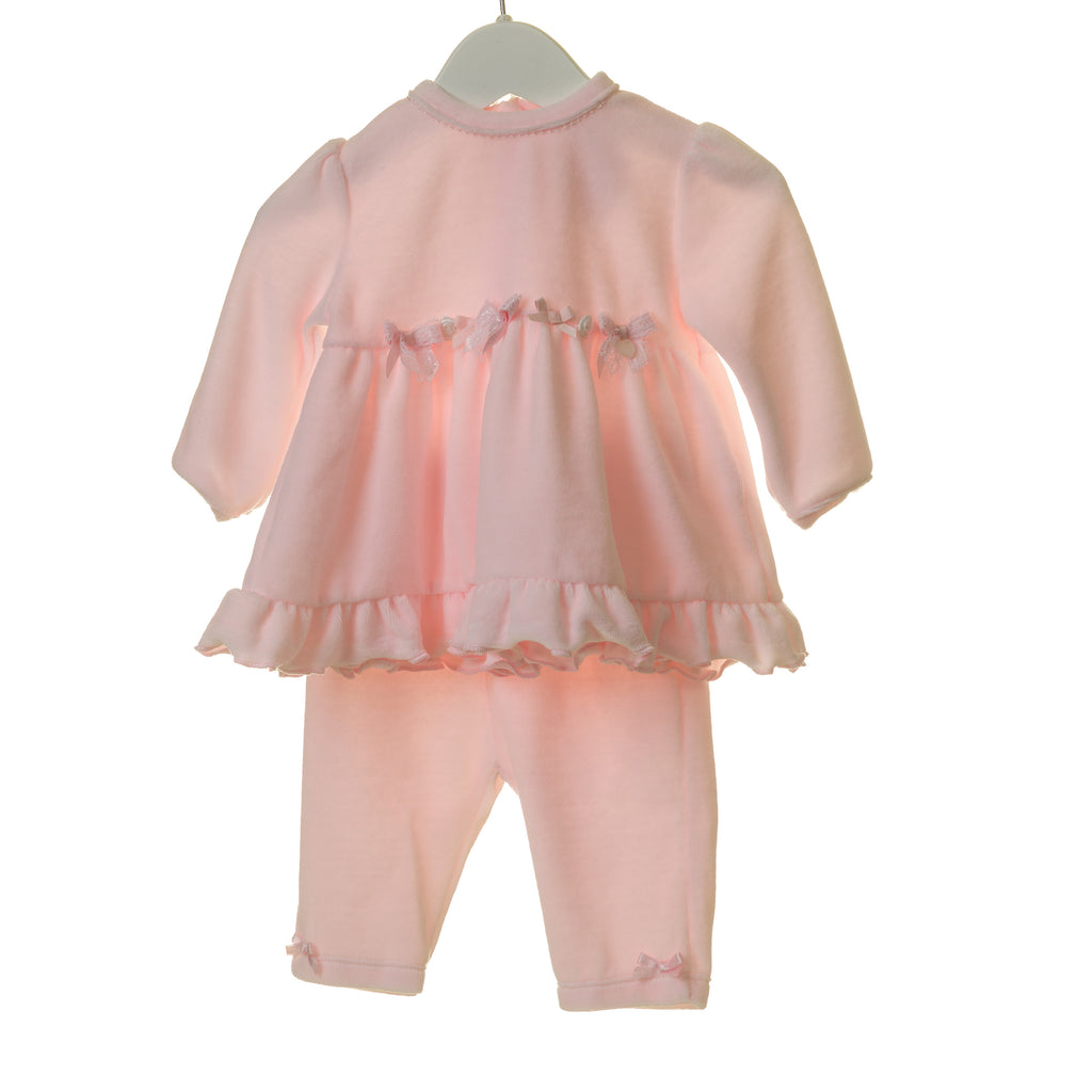 TT0162 - GIRLS VELOUR 2PC DRESS SET WITH BOWS AND ORGANZA FLOWERS (6PCS)