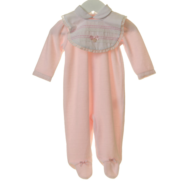 TT0165 - GIRLS PINK VELOUR SLEEPER WITH REMOVABLE BIB (6PCS)
