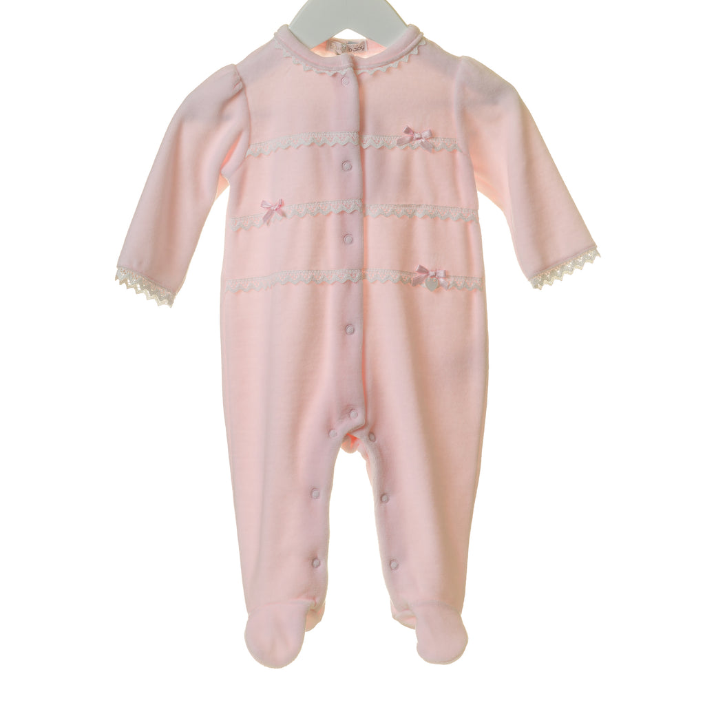 TT0172 - GIRLS VELOUR SLEEPER WITH WHITE LACE TRIM (6PCS)