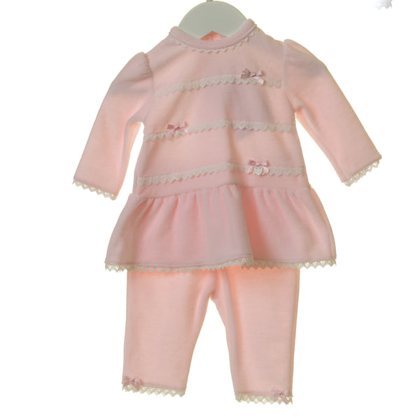 TT0173 - GIRLS VELOUR 2PC SET WITH WHITE LACE TRIM (6PCS)