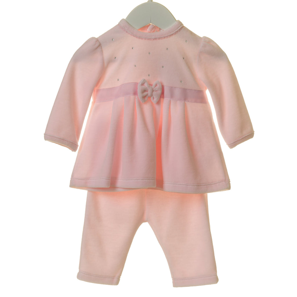 R-TT0177A - GIRLS VELOUR 2PC DRESS SET WITH BOW AND DIAMANTES