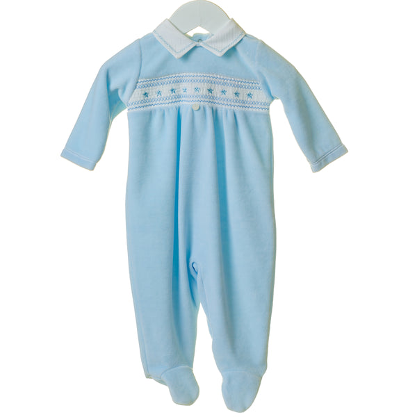 TT0186 - BOYS SMOCKED BLUE VELOUR SLEEPER (6PCS)