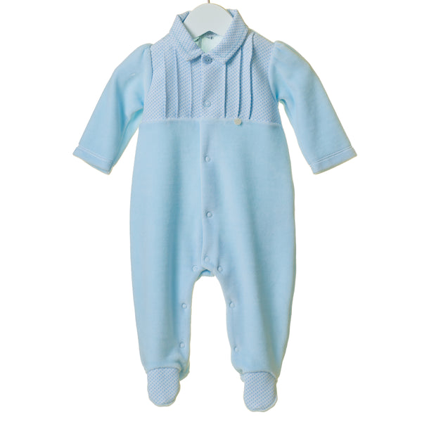 TT0187 - BOYS VELOUR SLEEPER WITH WOVEN JACQUARD PLACKET (6PCS)
