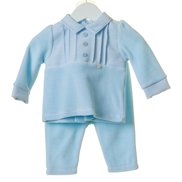 TT0188 - BOYS VELOUR 2PC SET WITH WOVEN JACQUARD PLACKET (6PCS)