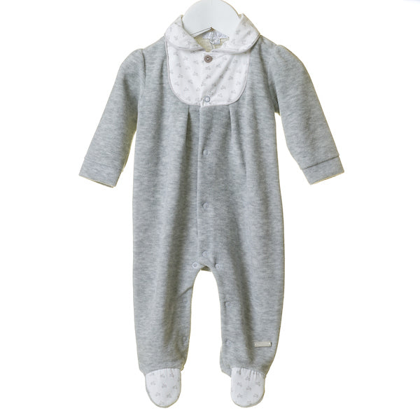 TT0189 - BOYS GREY MARL VELOUR SLEEPER WITH PRINTED TRIM (6PCS)