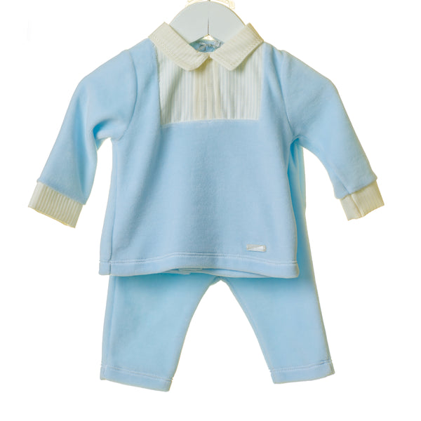 TT0196 - BOYS BLUE VELOUR 2PC SET WITH WOVEN PLACKET (6PCS)