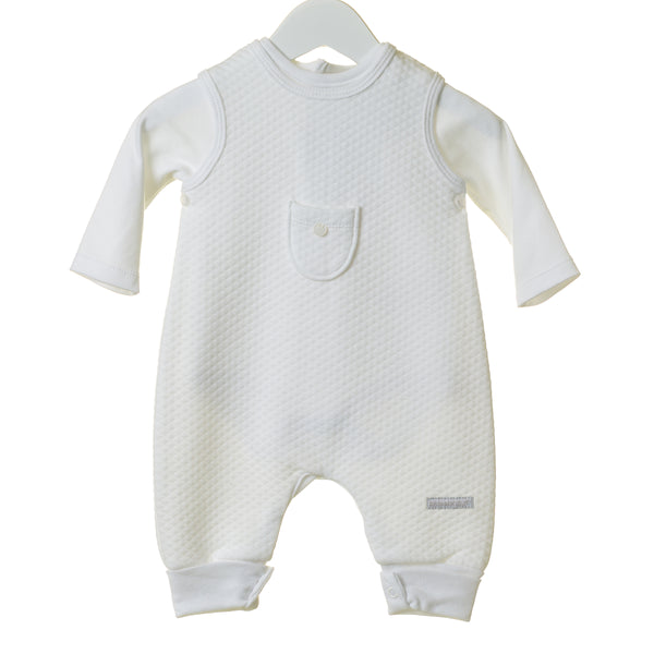 TT0203 - WHITE POINTELLE 2PC DUNGAREE AND BODYSUIT SET (6PCS)